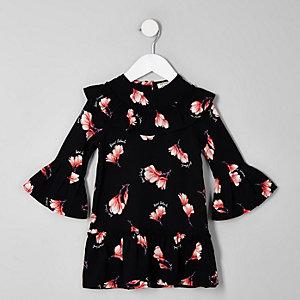 Schwarzes, geblümtes Swing-Kleid mit Schößchen