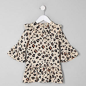 Mini - Bruine swingjurk met luipaardprint voor meisjes
