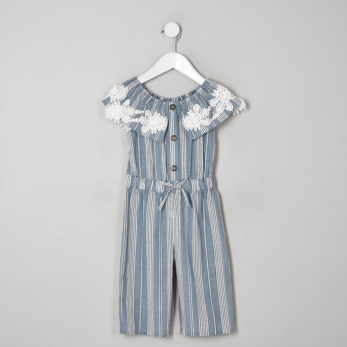 Mini girls blue stripe bardot jumpsuit