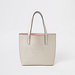Girls gold RI logo tote bag