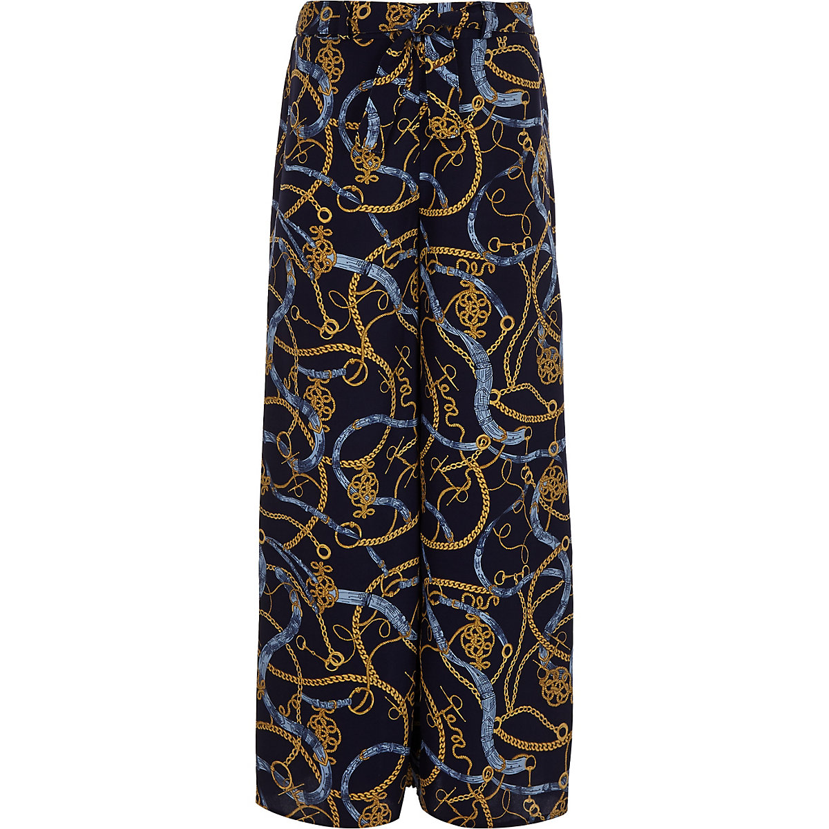 Girls chain print wide leg palazzo trousers