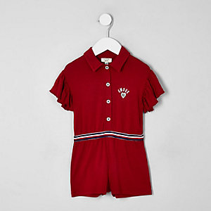Mini girls red polo frill playsuit