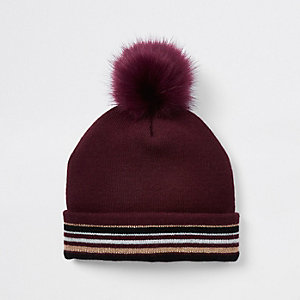 Girls dark red stripe faux fur beanie hat