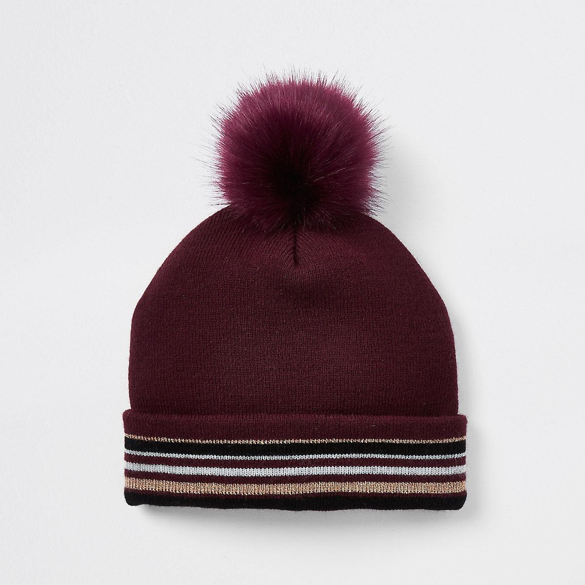 Girls dark red stripe faux fur beanie hat