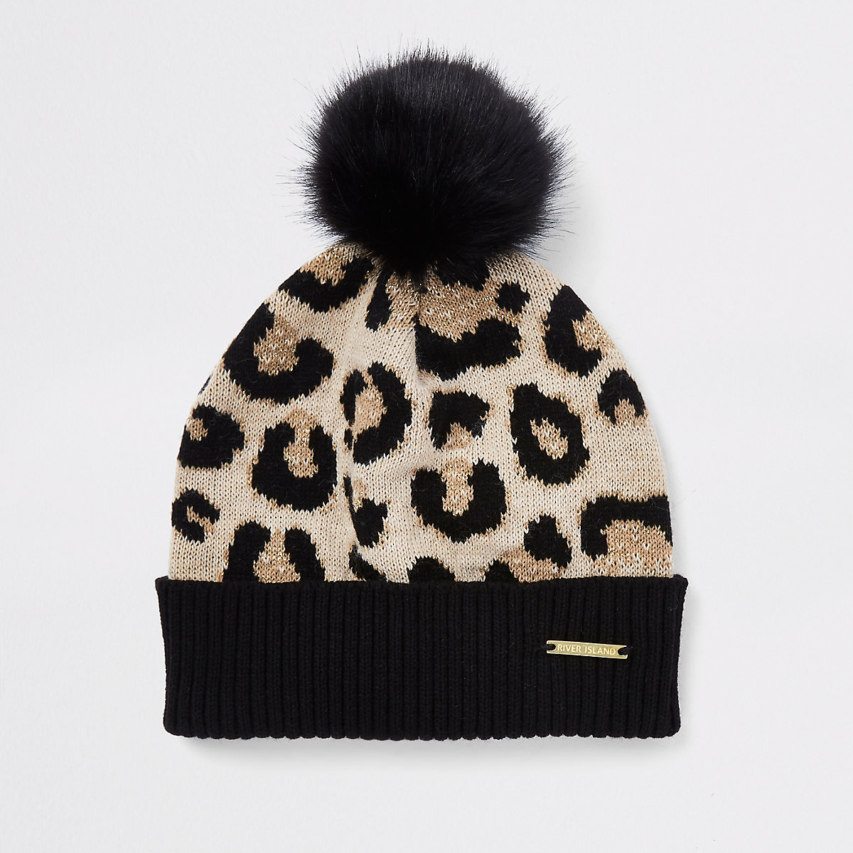 Girls leopard print pom pom beanie hat - Hats - Accessories - girls 3764c9199d8