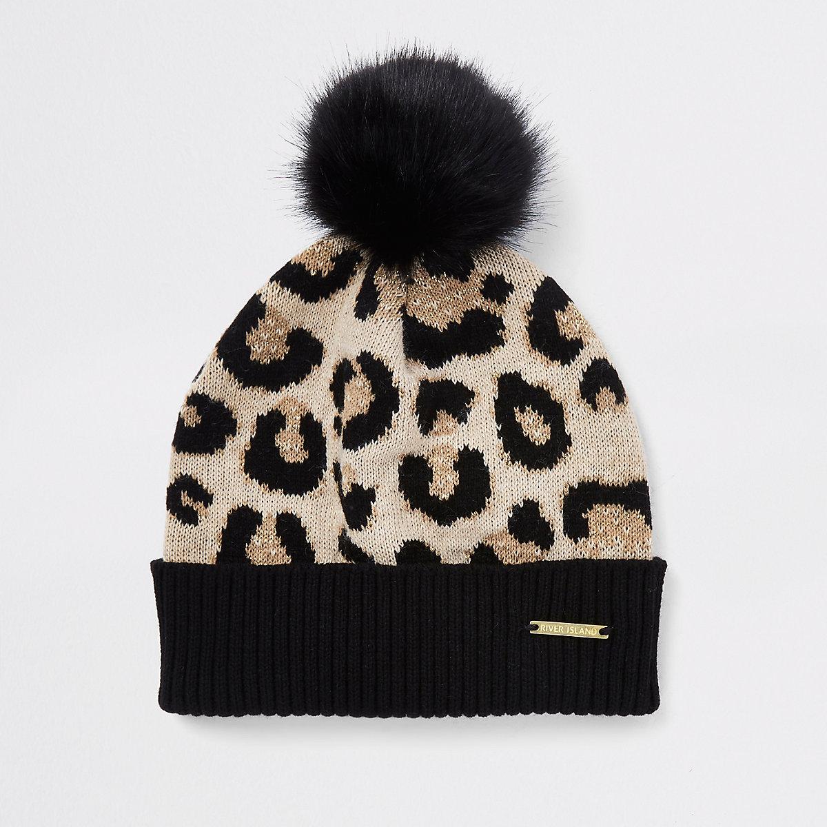 Girls leopard print pom pom beanie hat