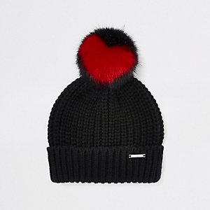 Girls black heart faux fur pom pom beanie hat