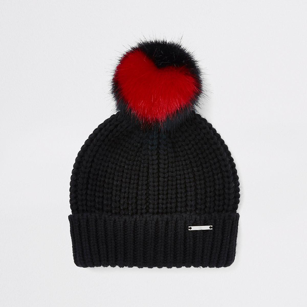 Girls black heart faux fur pom pom beanie hat