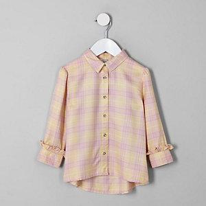Chemise à carreaux jaune mini fille