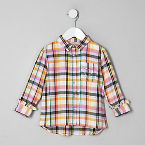 Mini girls pink check shirt