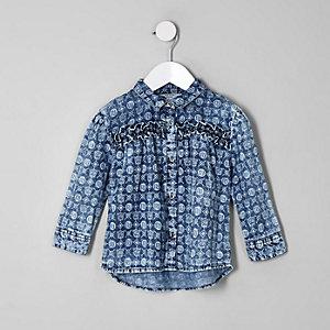 Chemise en denim bleue avec monogramme RI pour mini fille