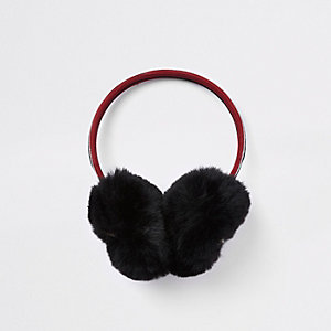 Girls black bee embellished ear muffs