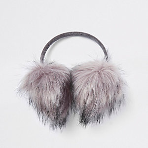 Girls grey RI faux fur ear muffs