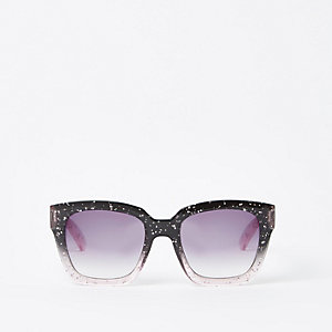 Zwarte oversized glitterzonnebril voor meisjes