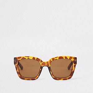 Lunettes de soleil oversize motif écaille de tortue marron pour fille