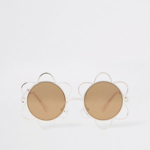 Girls gold flower metal sunglasses