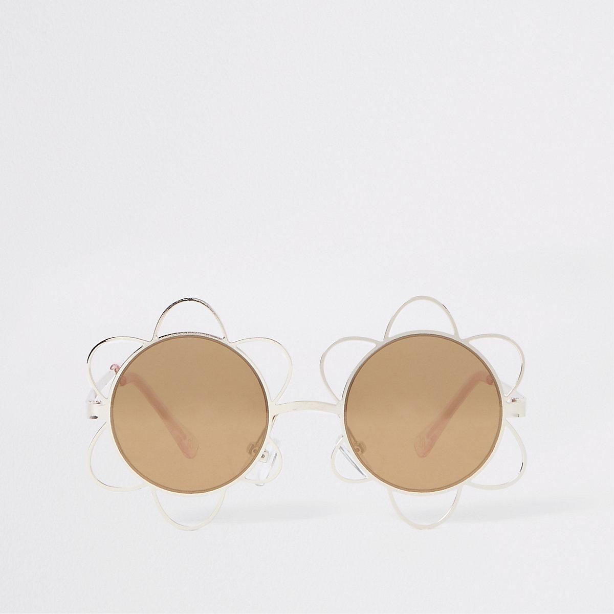 Girls gold flower metal sunglasses