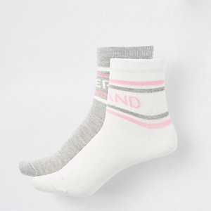 Girls white and grey RI socks multipack