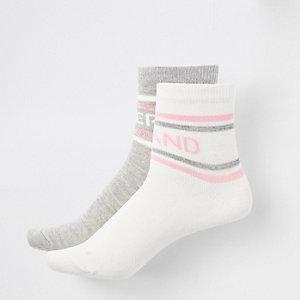 Multipack witte en grijze sokken met RI-logo voor meisjes