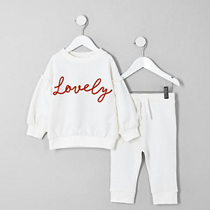 Mini girls white 'Lovely' sweatshirt outfit