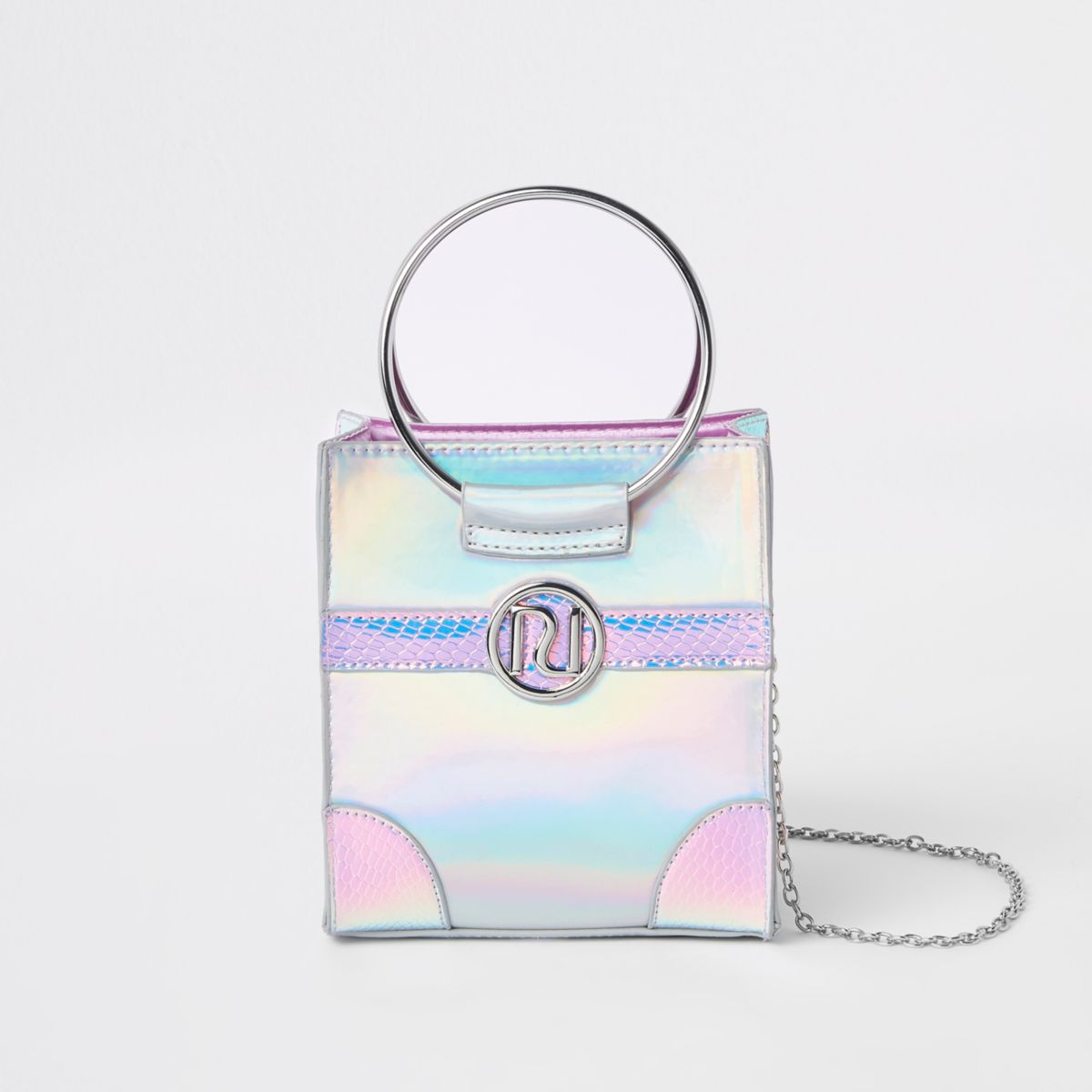 Girls silver holographic boxy cross body bag