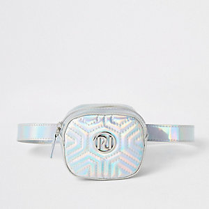 Girls silver holographic RI quilted bum bag