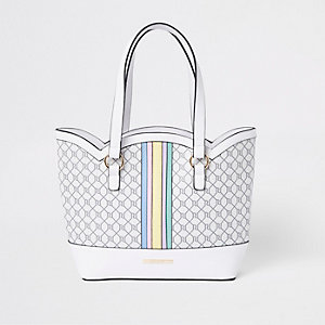 Girls white rainbow scallop shopper bag