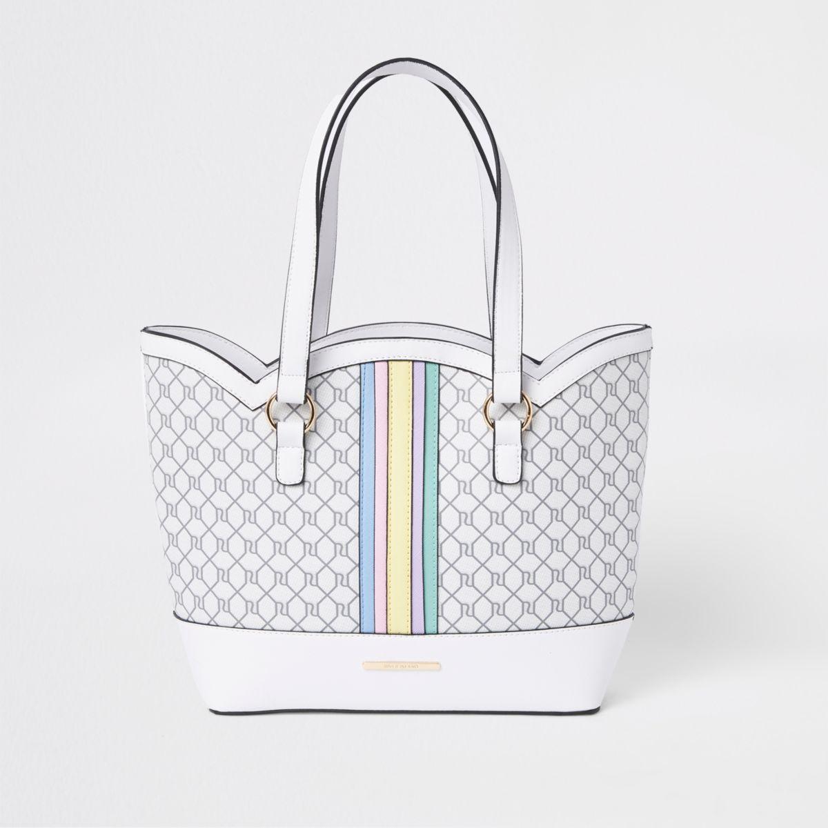 Girls white rainbow scallop shopper