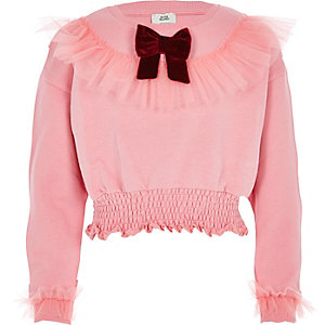 Girls pink ruffle bow sweatshirt