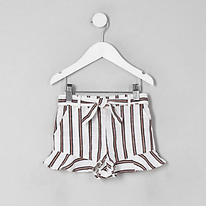 Mini girls cream stripe frill shorts