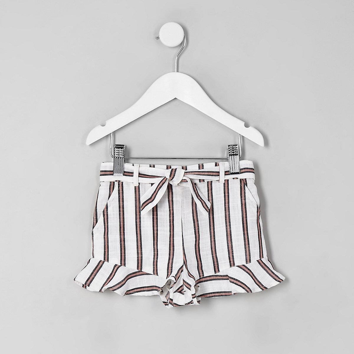 Mini girls cream stripe frill shorts