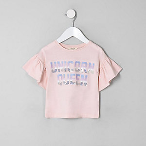 Mini girls pink 'Unicorn queen' T-shirt