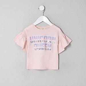 Mini - Roze T-shirt met 'Unicorn queen'-print voor meisjes