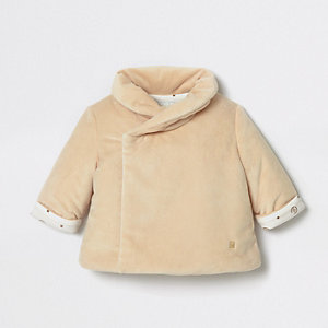 Veste croisée en velours beige pour bébé