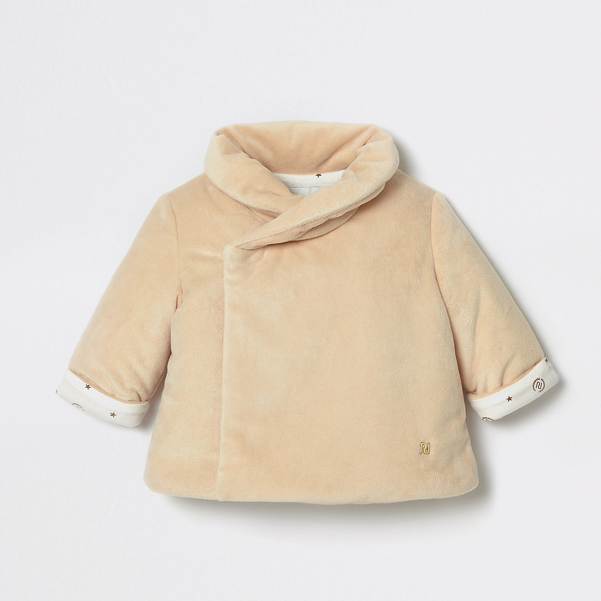 Baby beige velvet wrap over jacket