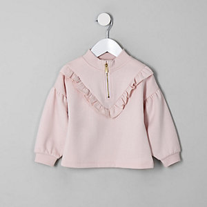 Mini girls pink zip funnel neck sweatshirt