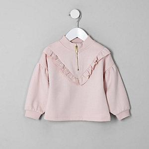 Mini girls pink zip funnel neck sweatshirt