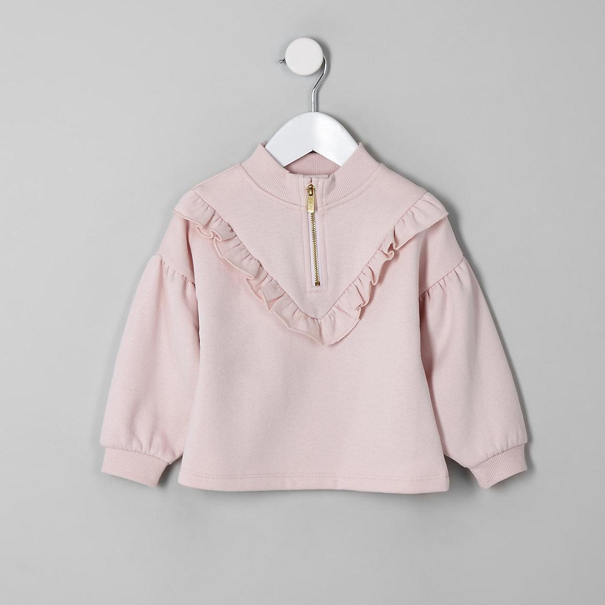 Rosa Sweatshirt mit Stehkragen und Reißverschluss