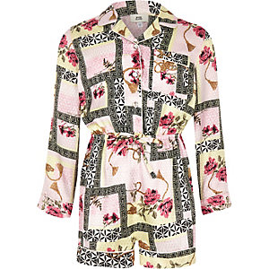 Girls pink baroque print playsuit