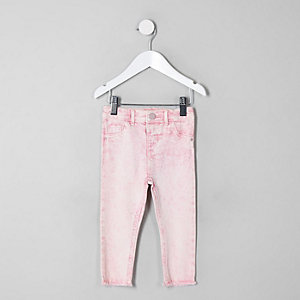 Mini girls pink acid wash Molly jeggings
