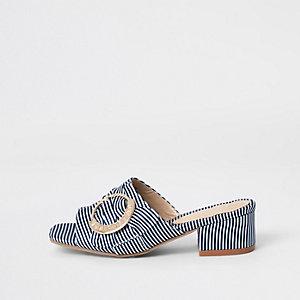 Sandales mules bleu marine à talon et boucle pour fille