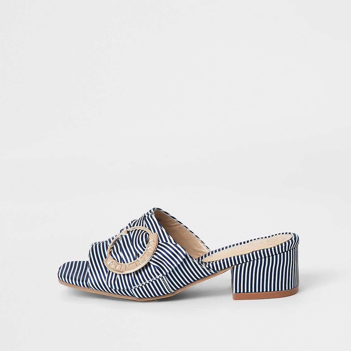 Girls navy buckle heel mule sandals