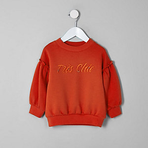 Mini girls red balloon sleeve sweatshirt