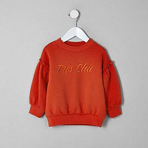 Mini - Rood sweatshirt met pofmouwen voor meisjes