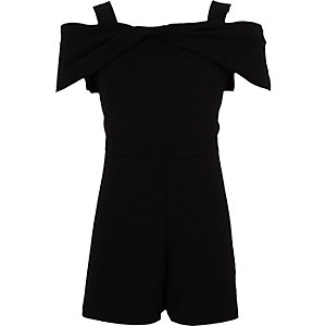 Girls black bow bardot playsuit