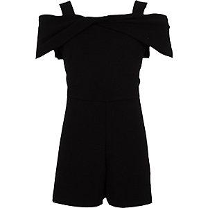 Combi-short noir à encolure Bardot avec nœud pour fille