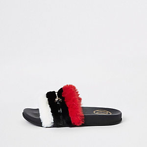 Girls red faux fur snaffle sliders