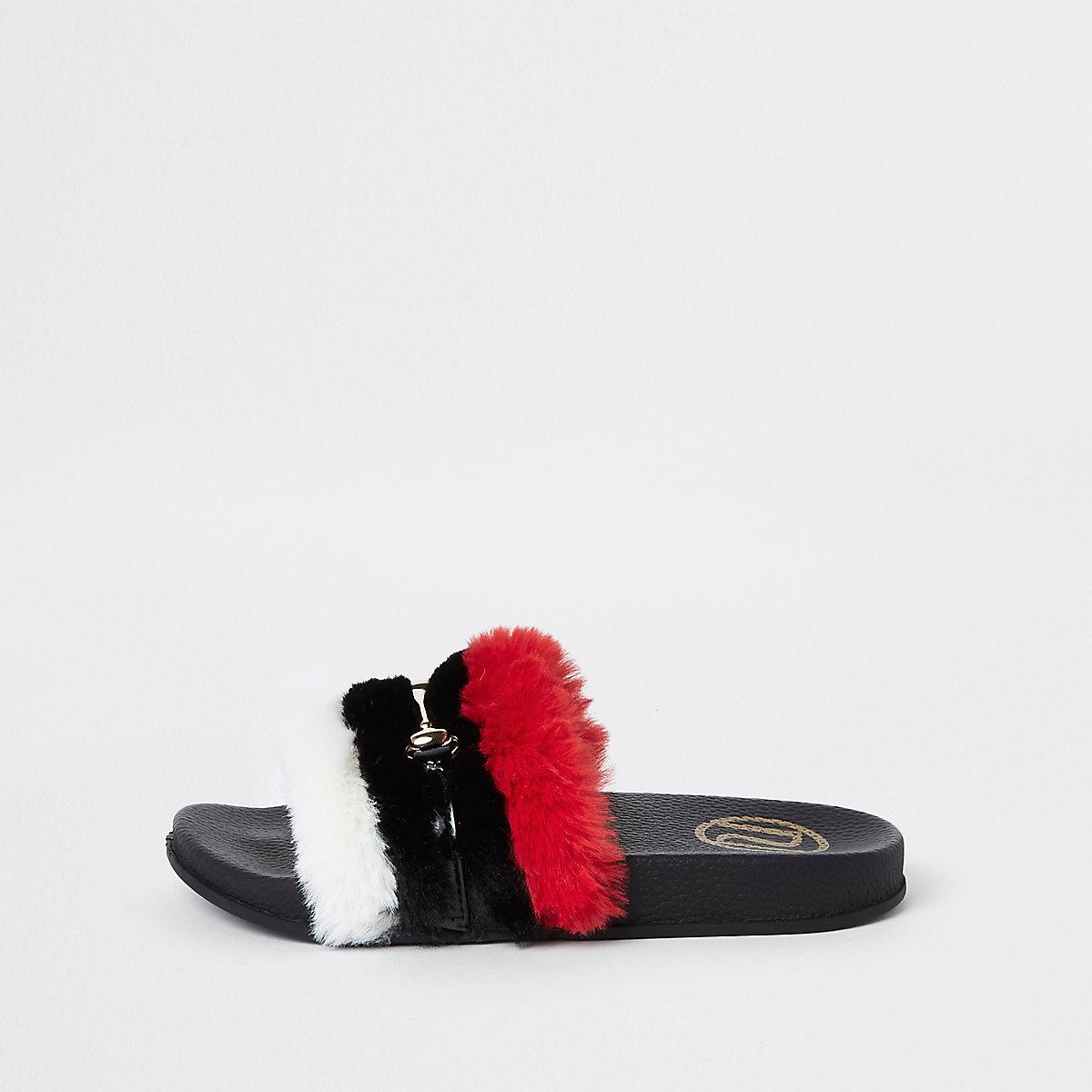 Girls red faux fur snaffle sliders