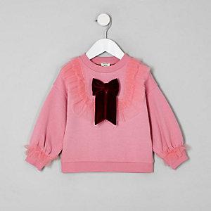 Mini - Roze sweatshirt van mesh met ruches voor meisjes