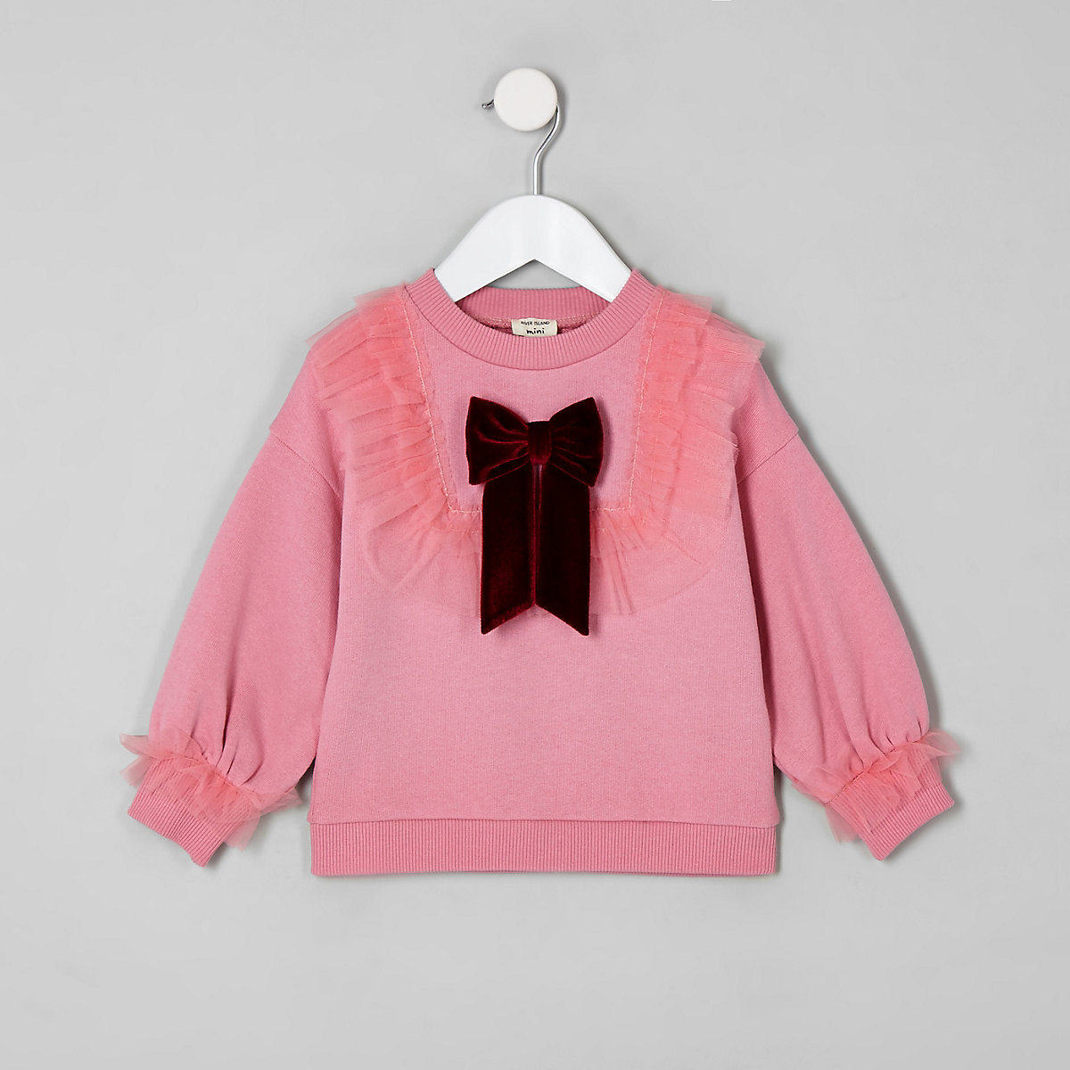 Mini girls pink mesh frill sweatshirt